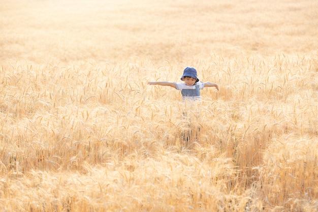 Aziatische jongen met plezier en spelen in een tarweveld op zomer. Premium Foto