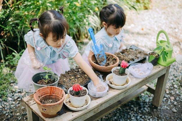 Aziatische kinderen die de planten planten. concept voor aardedag en red de aard van de planeet. Premium Foto