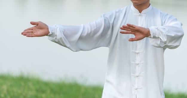 Aziatische mens die met tai chi in de ochtend bij het park, chinese vechtsporten, gezonde zorg voor het levensconcept uitwerken. Premium Foto