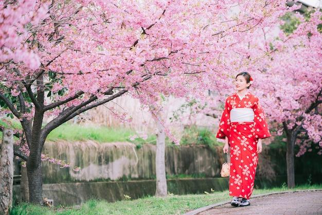 Aziatische vrouw die kimono met kersenbloesems, sakura in japan draagt. Premium Foto