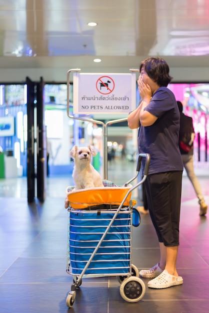 Aziatische vrouw en de hond met teken geen huisdieren toegestaan Premium Foto