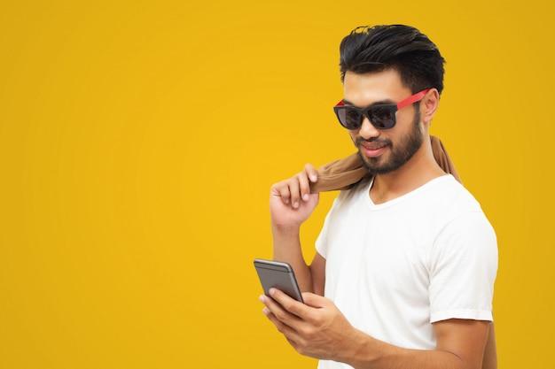 Aziatische zakenman knappe man met een snor Premium Foto