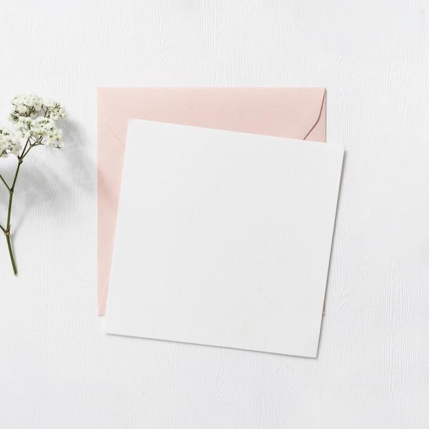 Baby's-adembloemen en roze en witte envelop op witte achtergrond Gratis Foto