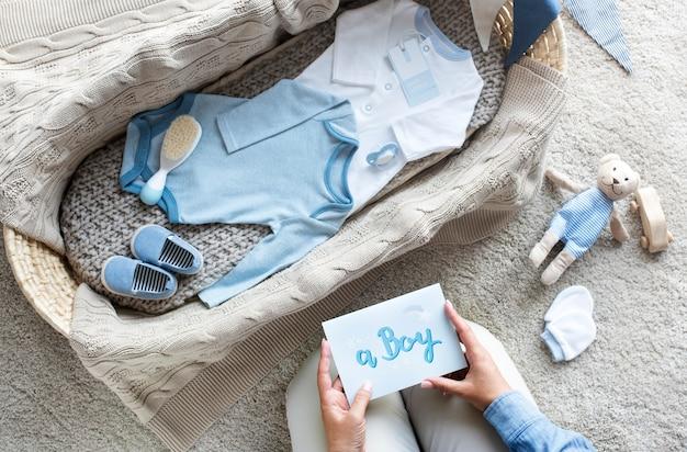 Babyjongen babydouche concept Premium Foto