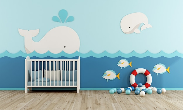 Babykamer met wieg, reddingsboei en liyeleballen op houten vloer Premium Foto