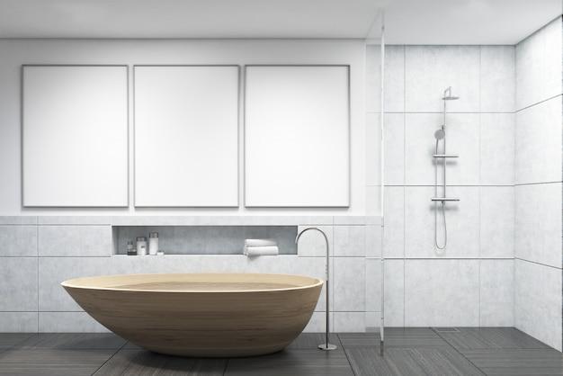 Badkamer met houten badkuip Premium Foto