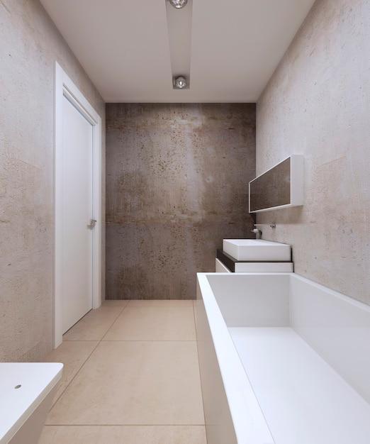 Badkamer Minimalistische Stijl Met Wit Gekleurde Meubels En Betonnen Muren Premium Foto