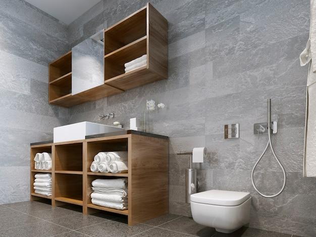 Badkamer Moderne Stijl Met Hout En Natuursteen Badkamer Perfect Voor Een Hotel Of Huis Premium Foto