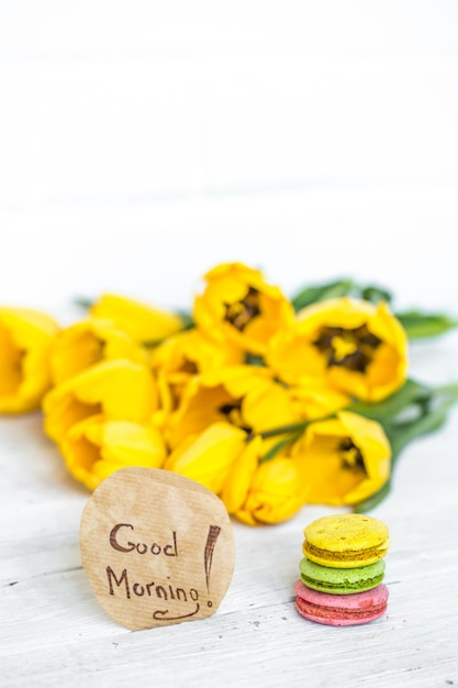 Badstof gele tulpen Gratis Foto
