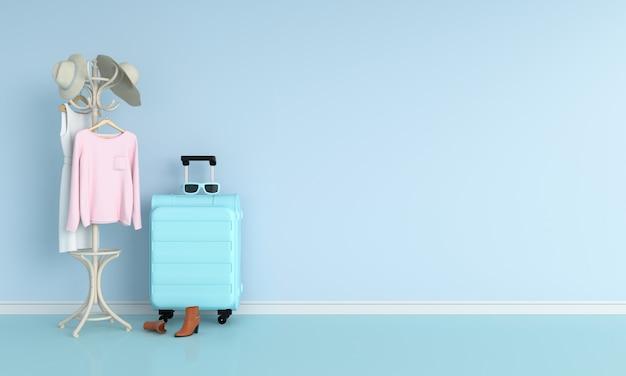 Bagage in blauwe ruimte Premium Foto