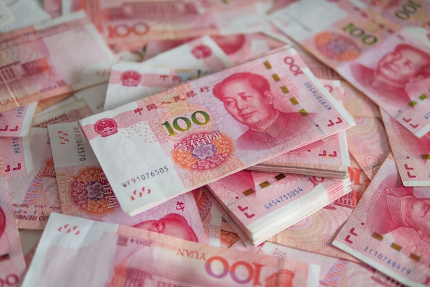 Bankbiljettenvaluta chinese yuan (cny, rmb) voor internationale financiële handelsbalans exchan Premium Foto