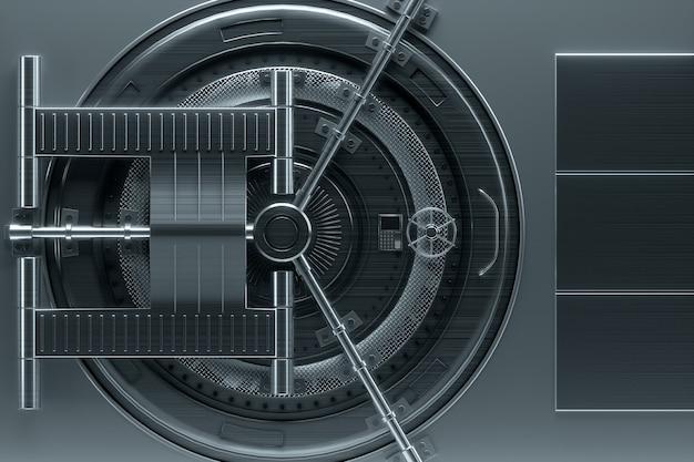 Bankkluisdeur, grote kluis, stevig metaal. het concept van bankdeposito's, deposito's, cellen, goede bescherming van spaargelden. kopieer ruimte, 3d illustratie, 3d render. Premium Foto