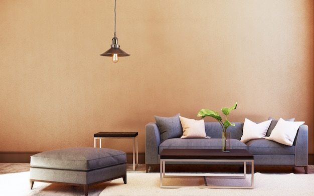 Bankstel en tafel en plafondlamp met oranje wand. 3d-weergave Premium Foto