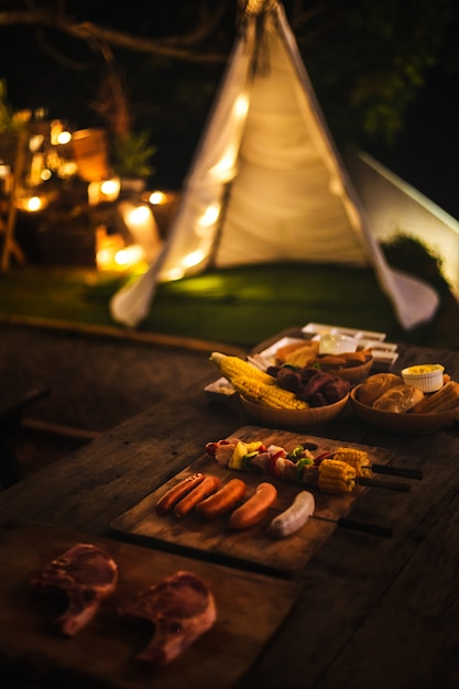 Barbecue kamperen Premium Foto