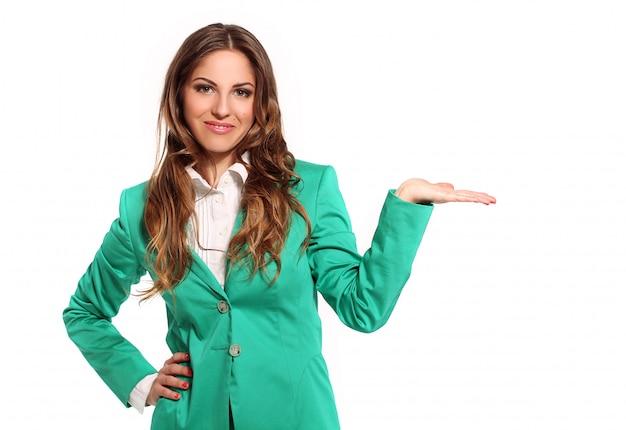 Bedrijfs vrouw in groen kostuum Gratis Foto