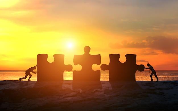 Bedrijfsconcept groepswerk met puzzel. zakelijk succes Premium Foto