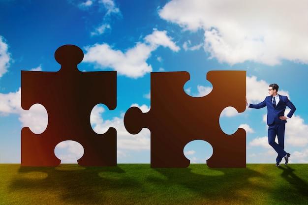 Bedrijfsconcept puzzels voor teamwork Premium Foto