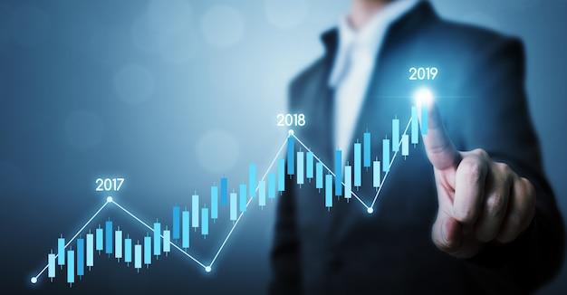 Bedrijfsontwikkeling tot succes en groeiende groei jaar 2019 concept, zakenman wijzende lijn punt grafiek corporate toekomstige groeiplan Premium Foto