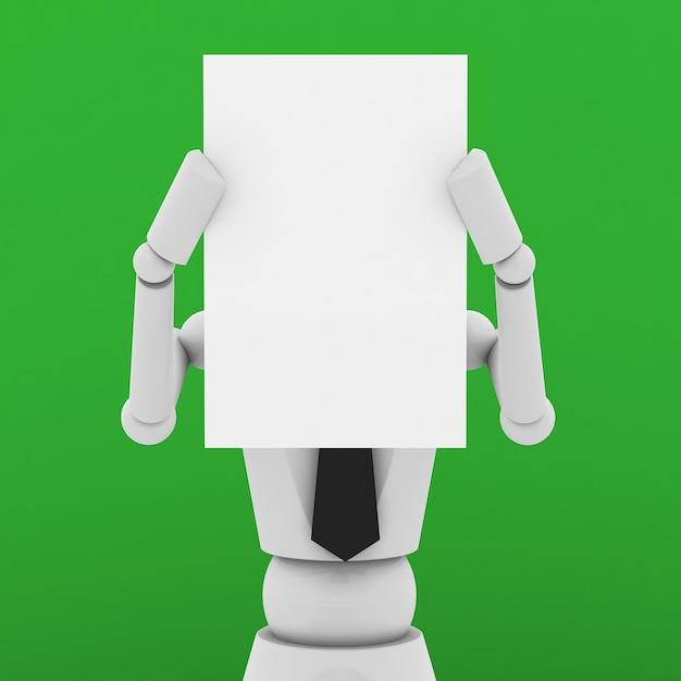 Bedrijfspop die een leeg document voor gezicht toont Premium Foto