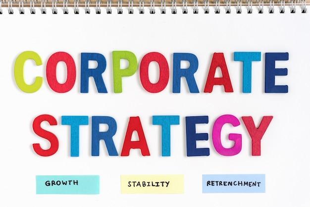 Bedrijfsstrategie definitie op de notebook Gratis Foto