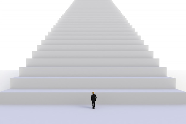 Beeld van miniatuurzakenman die zich voor witte trede op witte muurachtergrond bevindt Premium Foto