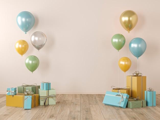 Beige, gele blinde muur, kleurrijk interieur met cadeaus, cadeautjes, ballonnen voor feest, verjaardag, evenementen. 3d render illustratie, mockup. Premium Foto
