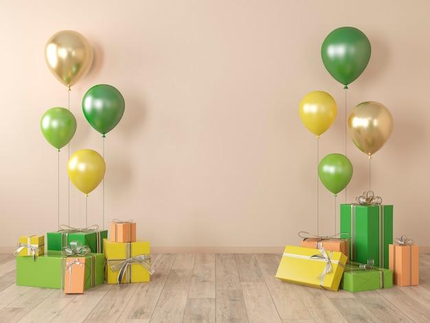 Beige lege muur, kleurrijk interieur met cadeaus, cadeautjes, ballonnen voor feest, verjaardag, evenementen. 3d render illustratie, mockup. Premium Foto