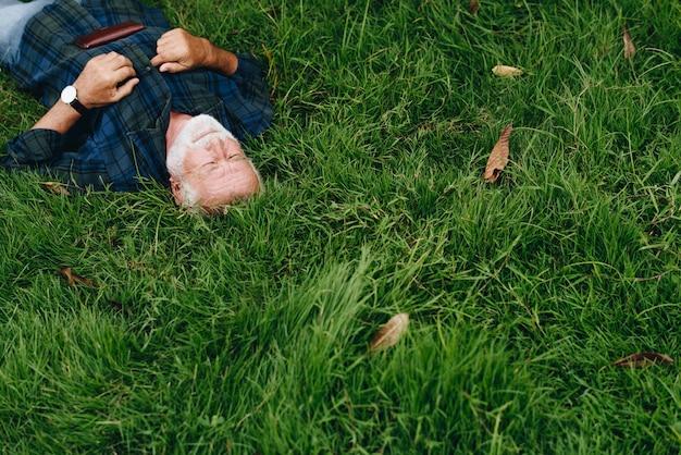 Bejaardenslaap op groen gras Gratis Foto