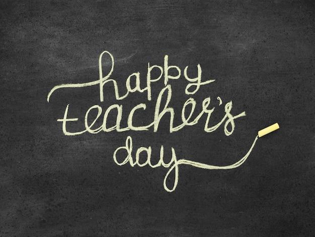 Belettering op het concept van de dag van de gelukkige leraar Premium Foto