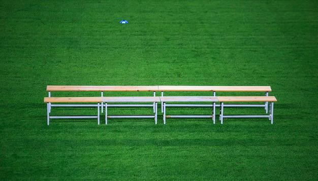 Benc in een voetbalstadion Premium Foto