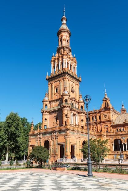 Beroemde plaza de espana, sevilla, spanje. toeristische attractie landmark. Premium Foto