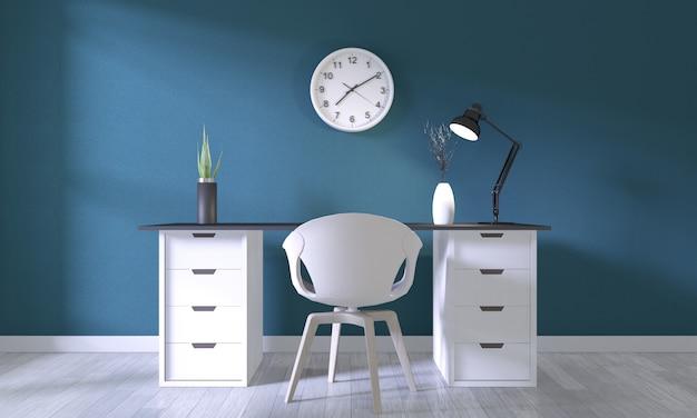 Bespotten affichekantoor met wit comfortabel ontwerp en decoratie op donkerblauwe ruimte en witte houten vloer Premium Foto