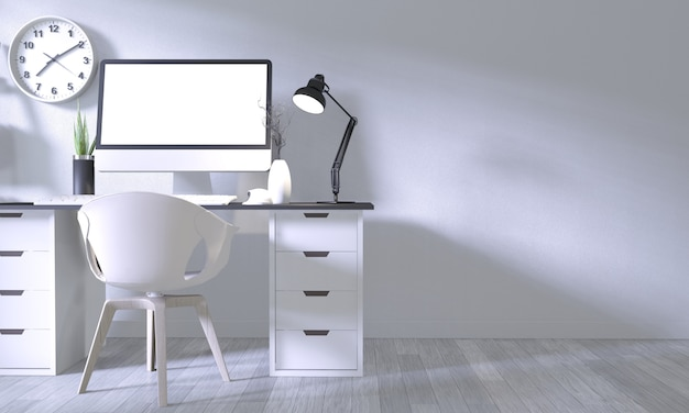 Bespotten affichekantoor met wit comfortabel ontwerp en decoratie op witte ruimte en witte houten vloer Premium Foto