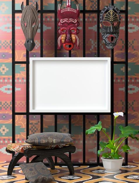 Bespotten etnisch interieur. houten stoel met zacht kleurrijk hoofdkussen Premium Foto