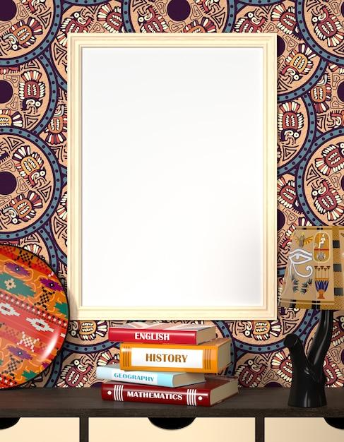 Bespreek het interieur. boeken op een houten tafel. frisse lichte gerechten en een traditioneel egyptisch ornament. Premium Foto