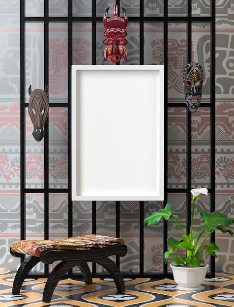 Bespreek het interieur. houten stoel met zacht kleurrijk hoofdkussen Premium Foto