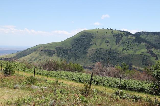 Betoverend landschap van heuvels die de lucht op het platteland raken Gratis Foto