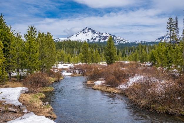 Betoverende opname van een prachtig besneeuwd rotsachtig park Gratis Foto