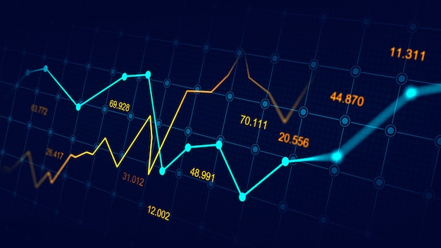 Beurs of forex trading grafiek Premium Foto