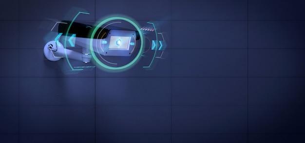 Beveiligingscamera die een ontdekt binnendringen, 3d renderinga richt Premium Foto