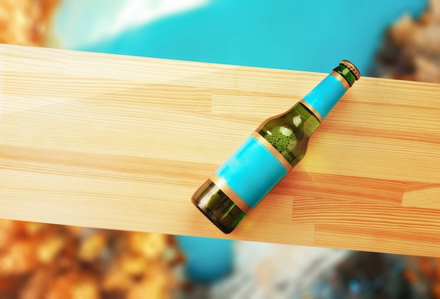 Bierfles op een houten plank en herfst achtergrond. Premium Foto