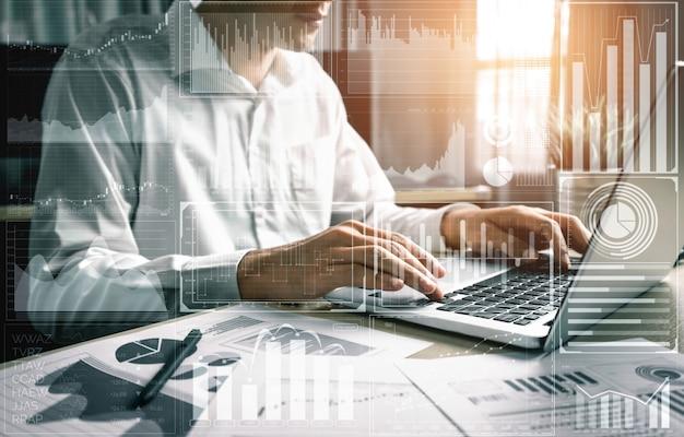 Big data-technologie voor bedrijfsfinanciënconcept. Premium Foto