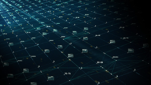 Big data visualisatie concept. machine learning algoritmen. Premium Foto