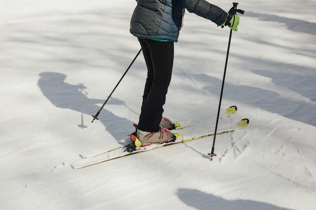 Bijgesneden opname van een skiër die ski's draagt die zich op de besneeuwde bergen bevinden Premium Foto