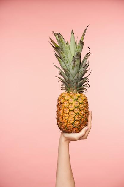 Binnen schot van mooie vrouwelijke hand met naakte manicure die verse ananas opheft, er sap van gaat maken, geïsoleerd over roze achtergrond Gratis Foto