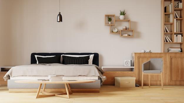 Binnenland met bed in slaapkamer met witte muur. 3d-rendering. Premium Foto
