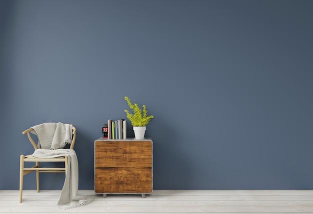 Binnenland met donkerblauwe groene muur houten stoel en de houten lege muur van het zijlijstkastje voor exemplaarruimte Premium Foto