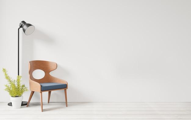 Binnenland met witte muur houten stoel en houten vloer, achtergrond van de lamp de lege muur Premium Foto