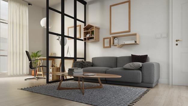 Binnenlandse affichewoonkamer met kleurrijke witte bank Premium Foto