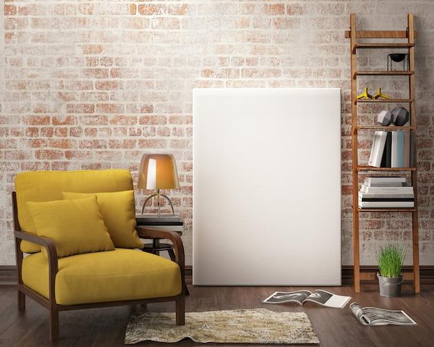 Binnenlandse woonkamer met meubilair, bank en leeg canvasframe Premium Foto